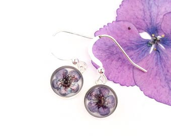 Flower girl gift, Fairy earrings, Minimal earrings, Small earrings with dried flowers, Indigo flower earrings, Eco friendly resin jewelry