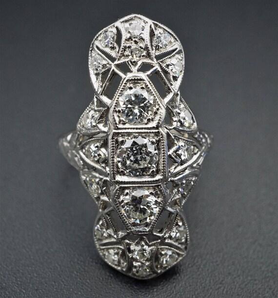 Antique Art Deco Filigree 1ct Old European Diamond Platinum Ring RG1112