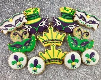 Mardi Gras Cookies, Mask, Party, Celebration