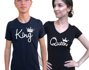 King queen  couple shirts, matching shirts, Comes in a PAIR **BOTH, Anniversary, wedding matching sets