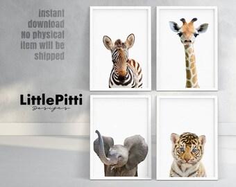 Safari nursery print, childrens decor, nursery printable, african animals print, zebra, elephant, giraffe, tiger, safari set of 4 prints