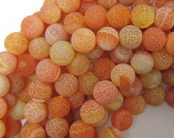 """10mm frost fire agate round beads 15"""" strand orange 33728"""