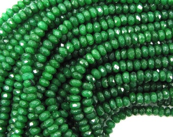 """5mm faceted emerald green jade rondelle beads 7.25"""" strand 30372"""
