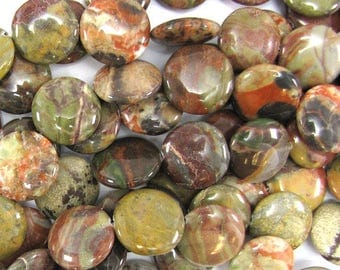 "20mm natural Australian agate coin beads 15"" strand 32493"