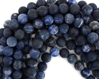 "12mm matte blue sodalite round beads 15.5"" strand 39175"