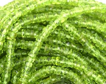 "4mm - 5mm green peridot heishi beads 14"" strand 35328"