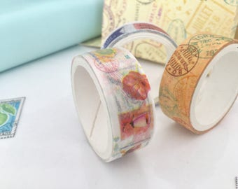 3 ribbons tape, Masking tape, Washi tape postage stamp, travel style vintageX3, snail mail, post stamps