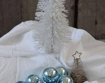 Twelve (12) Vintage Noelle glass ball blue ornaments in original box