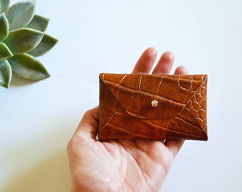 Brown leather card case with croco pattern / Brown envelope card holder / Brown leather business card case / Genuine leather