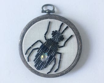 Beetle Embroidery Hoop, Wall Art, Embellished, Beaded, Homeware, Insect Decoration