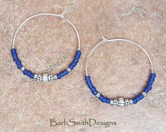 """Beaded Cobalt Blue and Silver Hoop Earrings, Large 1 3/8"""" Diameter in Cobalt"""