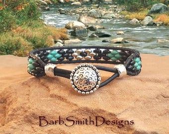 "Black Turquoise Bracelet-Beaded Wrap Bracelet-Leather Wrap-Slender Bracelet-Southwest-Size 6 3/4""-Custom Sizes-Skinny One in Black n' Silver"