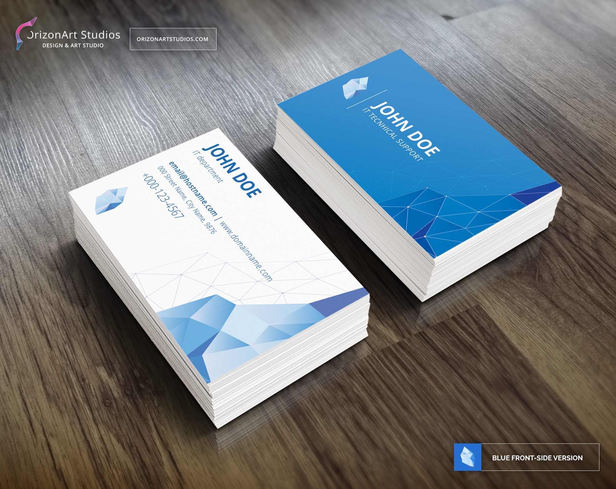 Intelligence IT Business Card, Blue Business Card, Clean Business ...