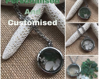 Personalised and Customised Floating Memory Locket Necklace - Genuine English Sea Glass w. Stainless Steel. Free UK Delivery