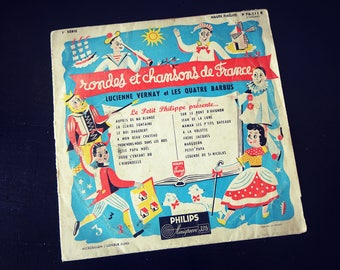 33 RPM - round and songs from France - french - songs for children - vintage Vinyl record