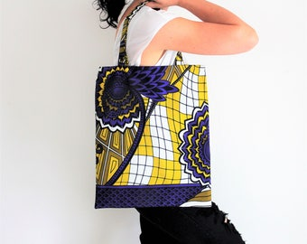 Ethnic bag, african wax, tote bag, shopping bag, flower pattern, geometric pattern, storage pouch, university bag, automn accessory, violet
