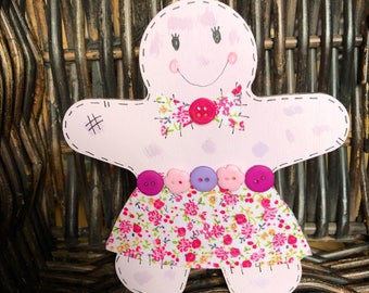 Cute gingerbread girl patchwork gingerbread lady buttons flower shabby chic gingerbread woman
