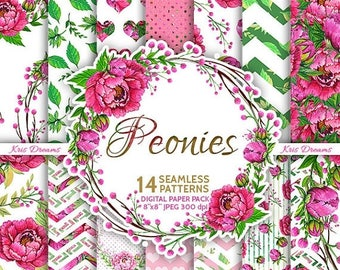 "Sale 50% Off Peonies Seamless Digital Paper High Quality 8""x8"" Scrapbooking Paper Pink Green"