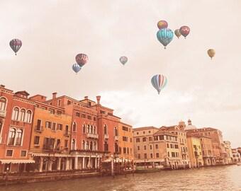 Balloons over Venice Fine Art  Print,  Landscape Vintage Photography Print, Italy Art Print, Rome architecture, Venice Colourful Houses