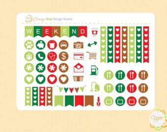 Gingerbread Cookie Weekly Kit Sampler, Planner Stickers, Erin Condren Life Planner, Happy Planner