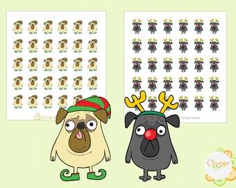 Christmas Pug Stickers, Pug Planner Stickers, Erin Condren Life Planner