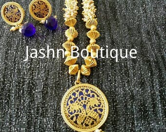 Rajasthani Jaipur Mughal design Thewa necklace with White and blue beads, intricate gold work, matching earring, gold finish, Blue necklace