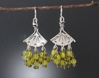 Sterling Silver Ginkgo Earrings with Olive Jade and Tourmaline - Jade Earrings - Tourmaline Earrings - Leaf Earrings - Green Stone Earrings