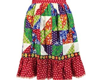 Vintage Clothing, Patchwork Skirt S, 70s Prairie Skirt, Americana Skirt, Ruffle Hem Skirt, Boho Skirt, Hippie Skirt, Home Made, SIZE S 4 6