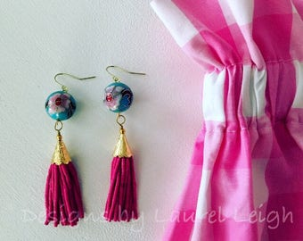 HOT PINK and TURQUOISE Tassel Earrings | pink, beaded, teardrop, statement earrings, vintage, cloisonné, Designs by Laurel Leigh