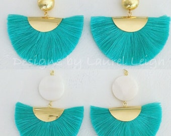 TURQUOISE Fan Tassel Earrings | GOLD, fringe, aqua, Mother of pearl, lightweight, Designs by Laurel Leigh
