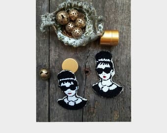 Audrey Hepburn mini pins brooches hand Handmade embroidery embroidery