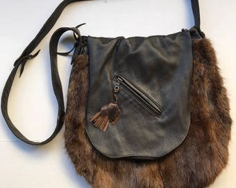 Brown hand made fur bag