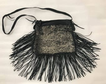 Winter bag real astrakhan fur&leather with fashionable leather fringe new collection designer bag handmade women's black bag has size-small.