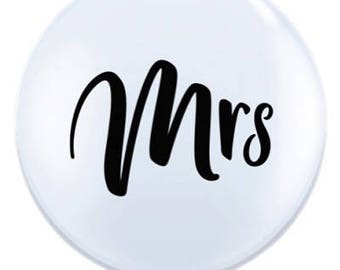 Mr and Mrs giant white balloons