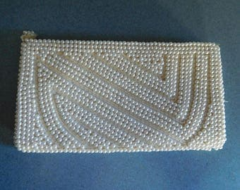 Vintage White Beaded Clutch Evening Bag or Purse for Wedding or New Years Eve Elegant Like New