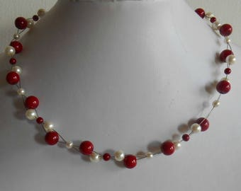 Bridal twist necklace Burgundy and ivory pearls