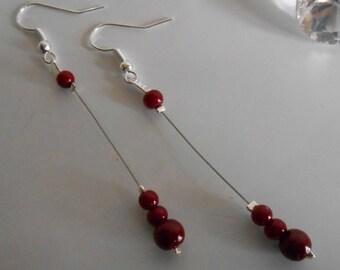 Dangle wedding Pearl Earrings Pearl Burgundy