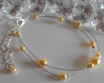 Bracelet wedding 2 row Pearl yellow gold
