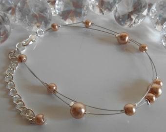 Bracelet wedding 2 rows beige pearls