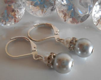 Earrings sleepers wedding rhinestone and light grey and white beads