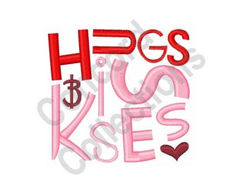 Hugs And Kisses - Machine Embroidery Design, Kisses - Machine Embroidery Design, Hugs - Machine Embroidery Design