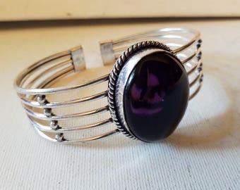 Amethyst, 925 silver overlay cuff bracelet