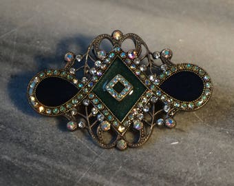 Vintage brooch,Art Deco style signed Catherine Popesco France enamel and crystal exquisite brooch