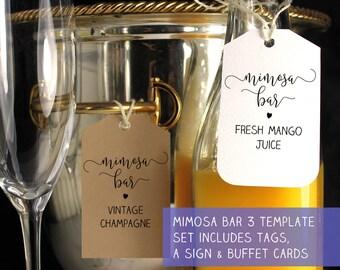Mimosa bar sign, Mimosa bar tags, Mimosa labels, Mimosa Bar, Mimosa bar printable, Bubbly bar sign, Bridal shower mimosa, Wedding mimosa bar