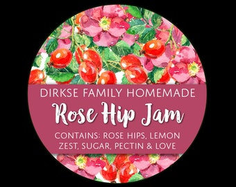 Customized Label - Rose Hip Jam, Watercolor Style Canning Jar Label - Wide Mouth & Regular Mouth - Watercolor Rose Hips Label