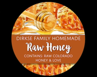 Honey Labels - Honeycomb and Honey Dipper - Watercolor Style - Raw Honey - Homegrown Honey - All Text Can be Customized
