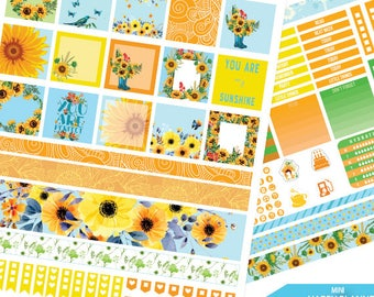 Mini Happy Planner, Sunflower Planner Stickers Printable, Sunflower Mini Happy planner, Weekly Kit,Printable Sampler,Instant download