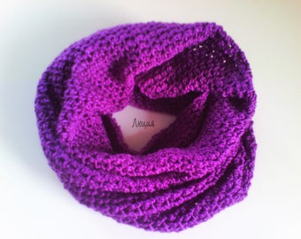 Scarf circular crocheted. Scarf purple. Women scarf. Handmade crocheted scarf.
