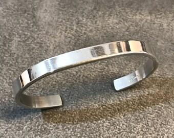 "6.5"", Vintage Sterling silver handmade bracelet, solid 925 silver cuff, stamped sterling IC"