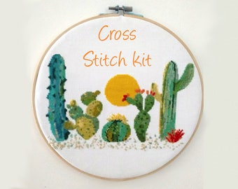 Cross Stitch Kit Modern- Cactus Cross Stitch Pattern Kit